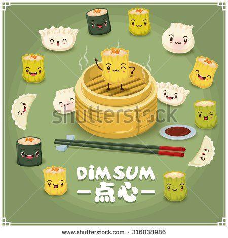 Food Cartoon Chinese Stock Vectors Vector Clip Art Lukisan Pengeditan Foto Makanan