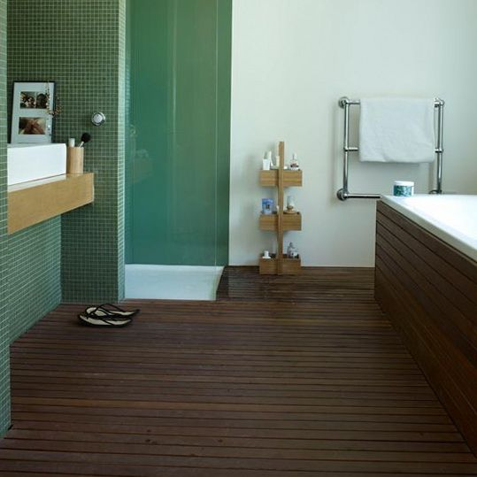 Cool Bathroom Design Ideas With Wooden Flooring Gorgeous For Modern Slatted Teak