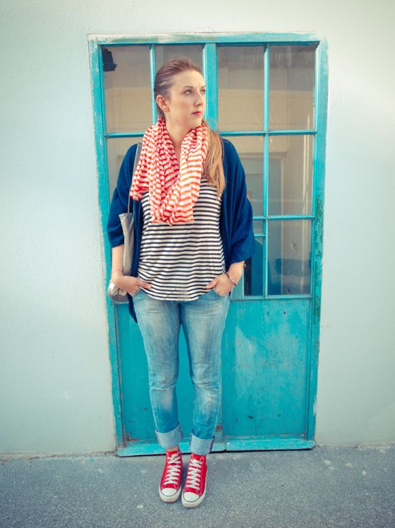051d480ad2f Red Converse Striped Shirt and scarf