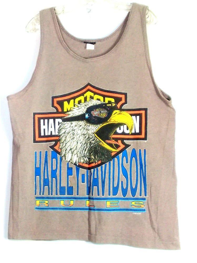 Harley Davidson Men S Tank Top Sz L Gray Vintage T Shirt 90 S Harley Rules Eagle Harleydavidson Tank Tank Man Shirts Mens Tank Tops