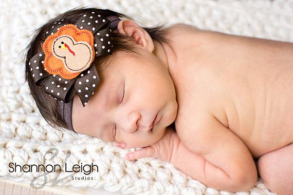 Little Girl Bow Toddler Headband Newborn Photo Prop Thanksgiving Newborn Headband Newborn Bow Baby Headband Turkey Bow Headband