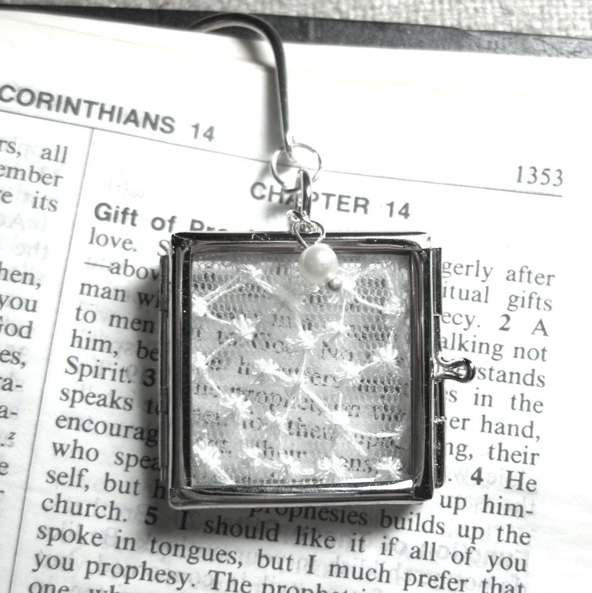 Great gift ideawedding day locket put peice of dressbible verse