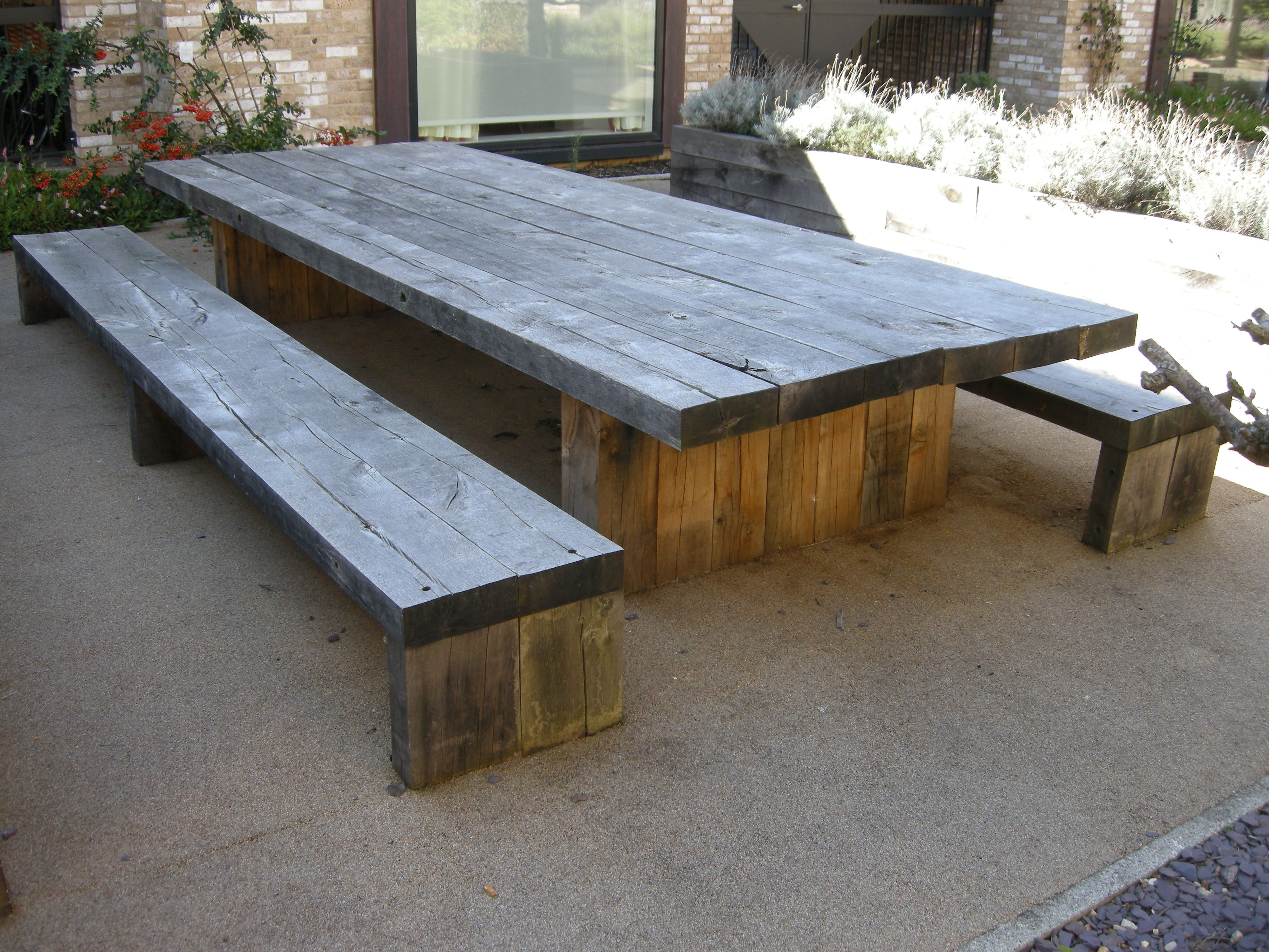 garden-and-patio-large-and-long-diy-rustic-solid-wood ...