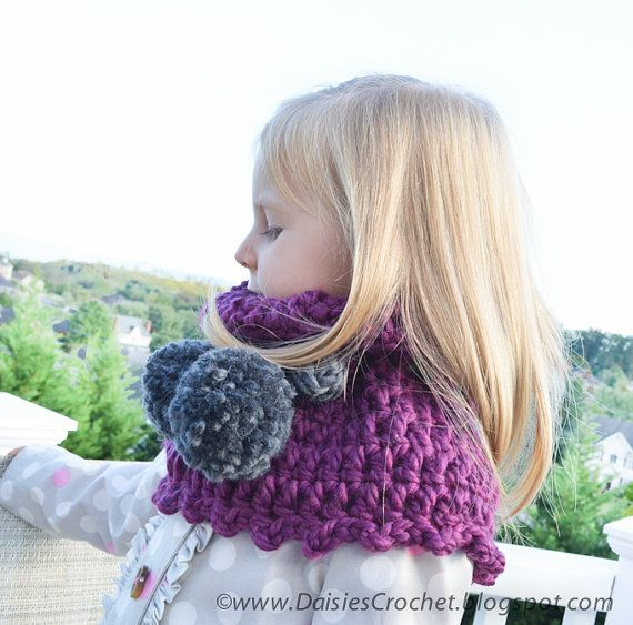Chunky Cowl Children Scarf Soft Neckwarmer Women By Daisiescrochet