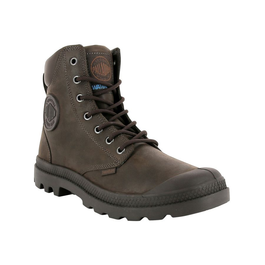73231 249 M Pampa Cuff Wp Lux Chocolate Mens Brown Leather Boots Palladium Boots Waterproof Leather Boots