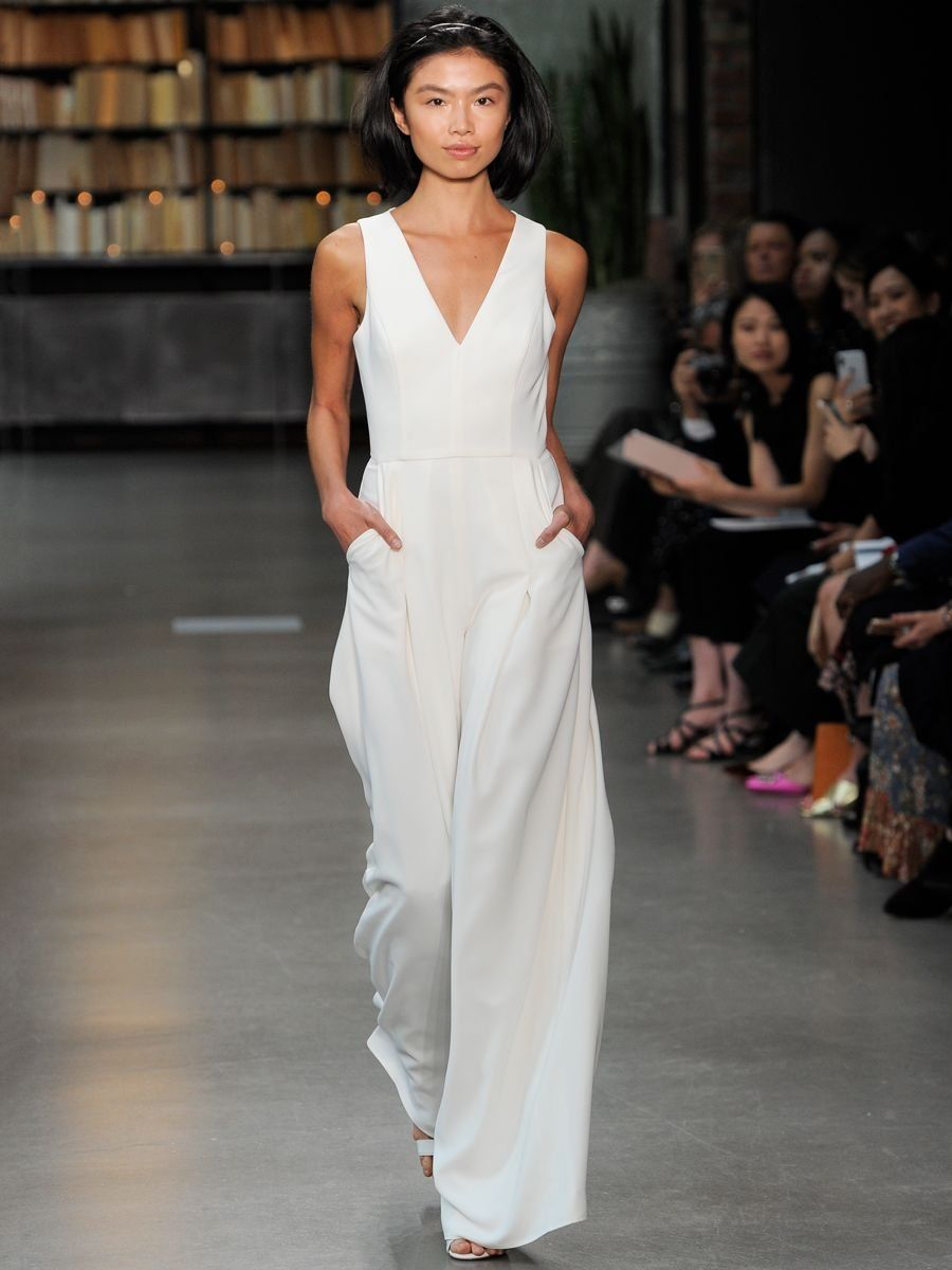 ddad3d02158b Amsale Little White Dress Fall 2019 Bridal Collection: Silk Crepe Jumpsuit  with Sleeveless V-Neckline