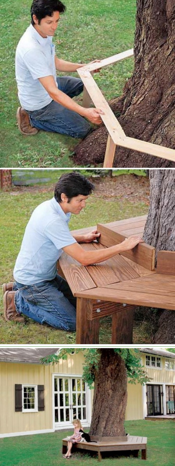 easy diy backyard projects with lots of tutorials tree bench