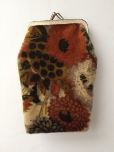 Vintage-Retro-Hippie-Fabric-Change-Purse-Cigarette-Case-Orange-Brown-60-70s