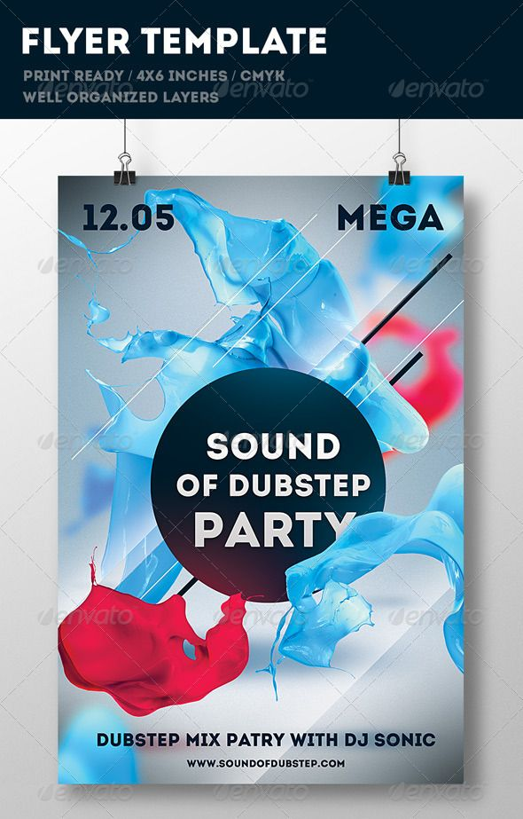 Party Flyer Print Template ...  abstract, amazing, art, bass, blue, creative, detail, digital, dj, dnb, drum, dub, dubstep, electro, flyer, futuristic, graphic, house, light, minimal, music, poster, print, realistic, sound, splash, step, template, trance