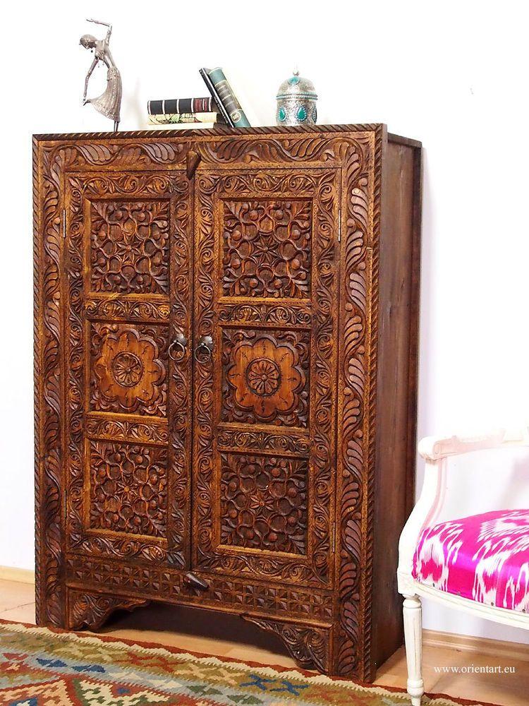 Details Zu Antik Look Orient Massivholz Wohnzimmerschrank Regal