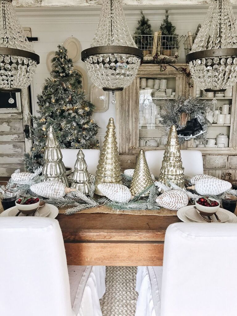 Rustic Glam Cottage Christmas Dining Room Glam Christmas Decor Christmas Dining Room Cottage Christmas