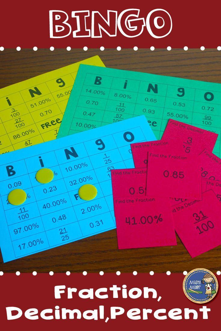 Fractions Decimals Percents BINGO Math Game   Percents, Math and ...