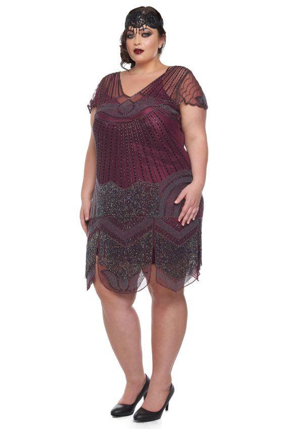 plus size beatrice purple plum flapper dress slip included | all