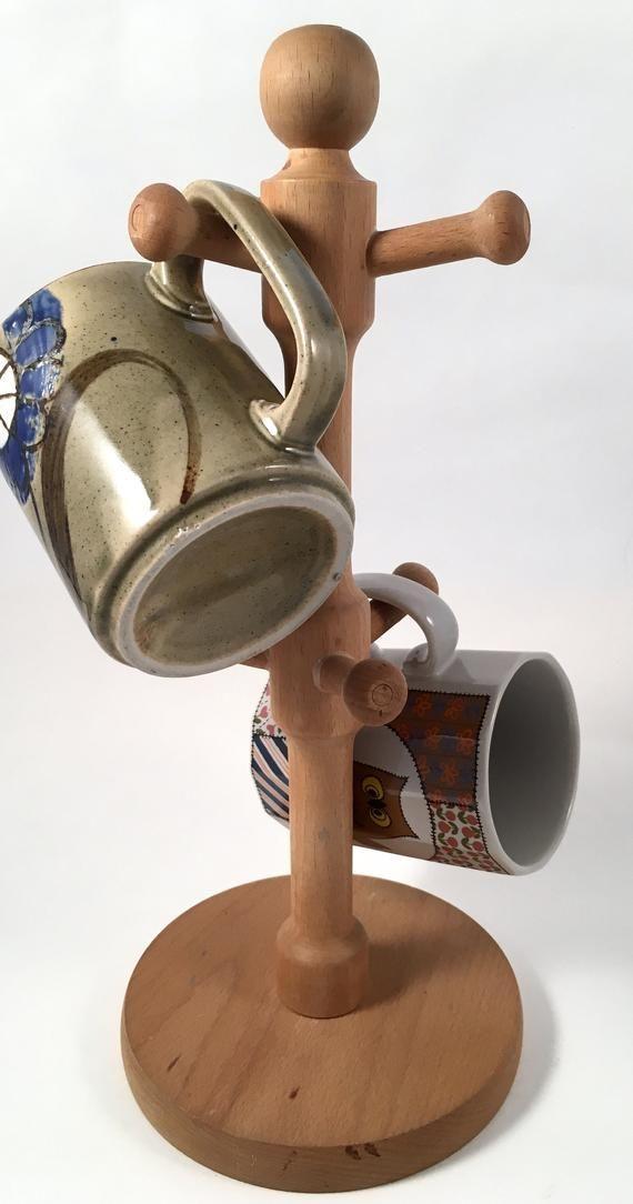 Vintage Retro Wood Wooden Coffee Mug Tree   Six Arm Mug Holder   Coffee Mug Display Stand   Kitchen Decor   Kitchen Storage Organization #mugdisplay