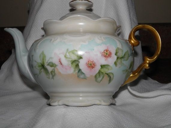 antique+teacup+and+teapots | Rare Wild Rose Schumann of Germany Teapot. $60.00, via Etsy.