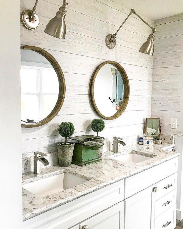 Wallpops Shiplap Reclaimed Wood Peel And Stick Wallpaper Bathroom Wallpaper Traditional Bathroom Bathroom Mirror