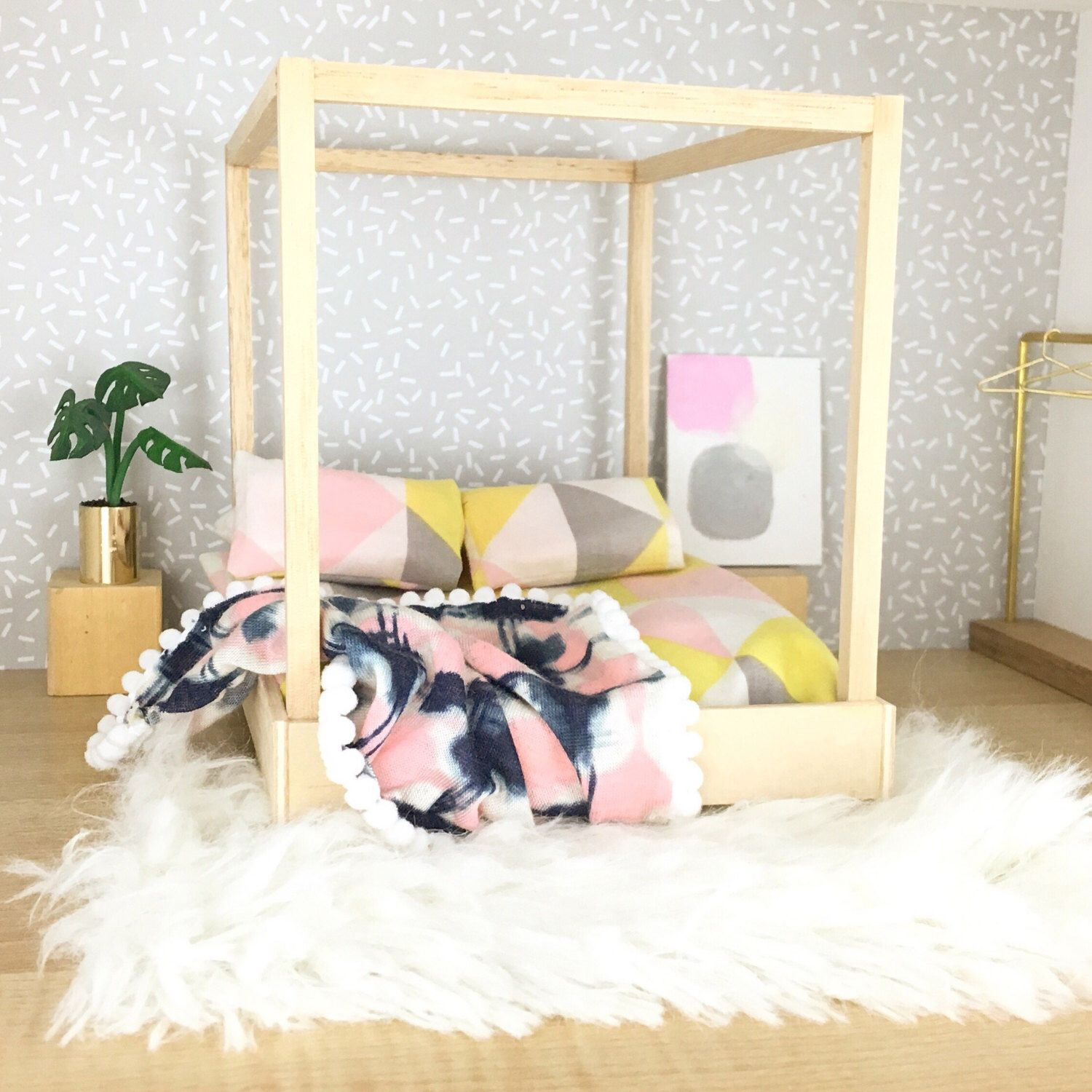 Modern dollhouse furniture/ dolls house bed / four poster bed #dollhousefurniture