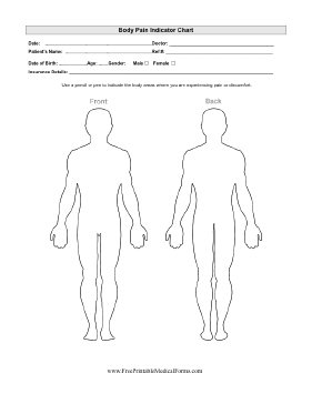 body pain indicator chart printable medical form, free to download, Muscles