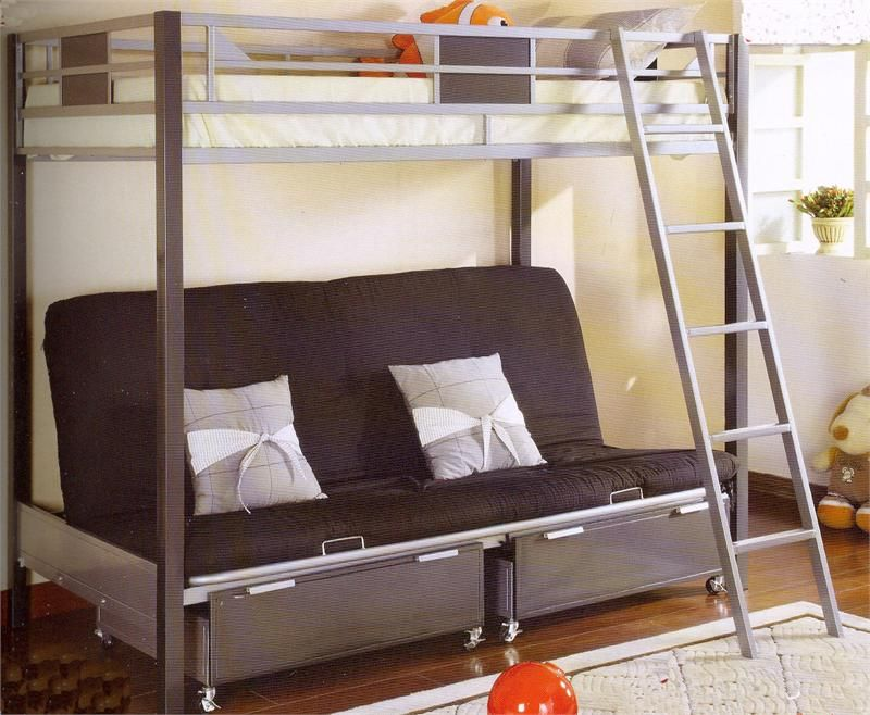 High End Bunk Bed with Futon and Desk in 2020 | Bunk bed ...