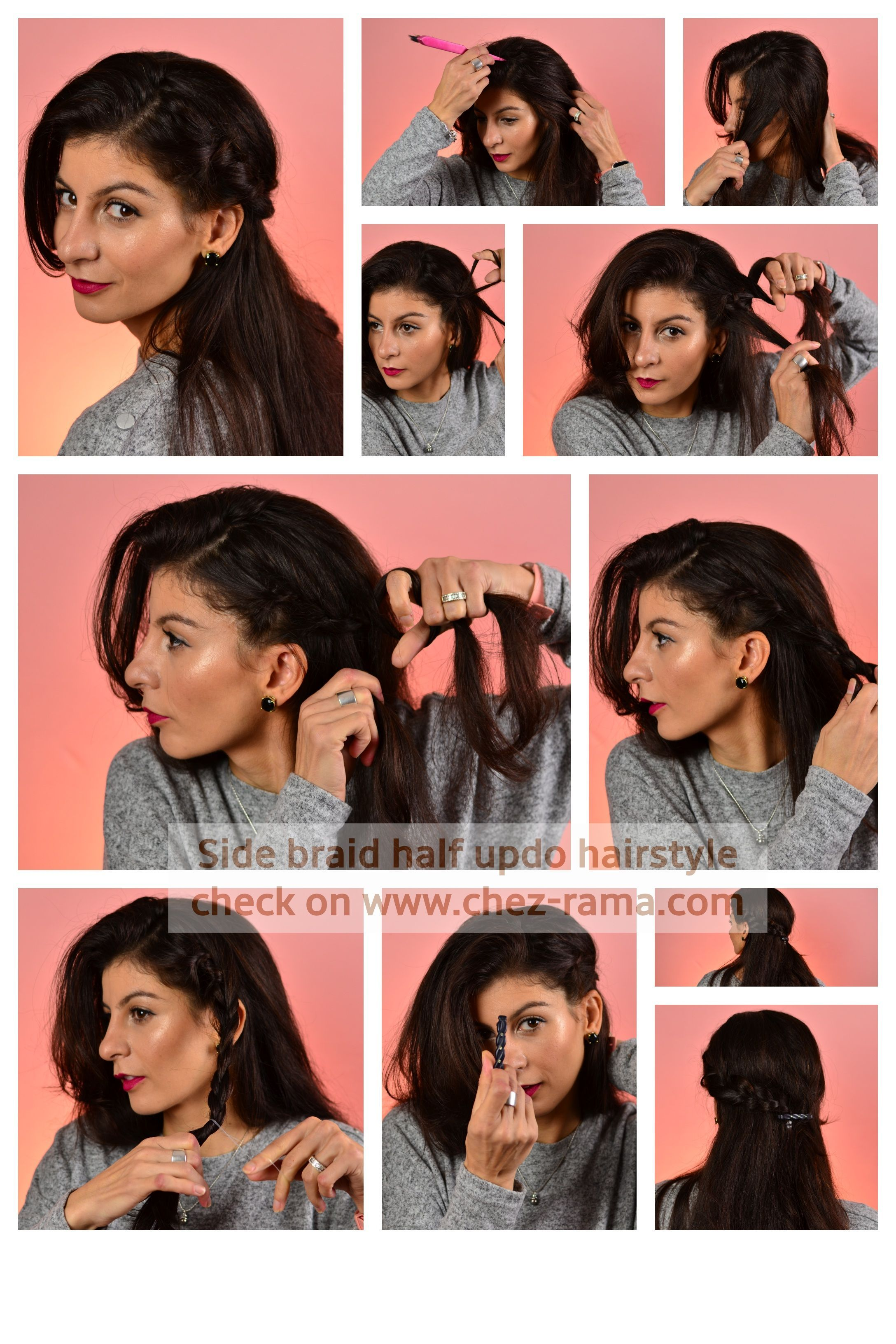 Lazy Hairstyle To Do At Home Braid Side Half Up Half Down Updo Easy Hairtutrial Quick Hairstyle Thanksgivin Lazy Hairstyles Half Up Hair Night Out Hairstyles