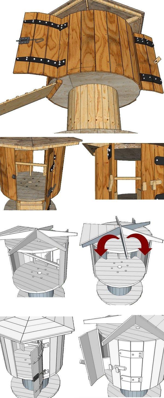 plan de montage d 39 un poulailler fait avec la r cup d 39 un touret de chantier dom. Black Bedroom Furniture Sets. Home Design Ideas