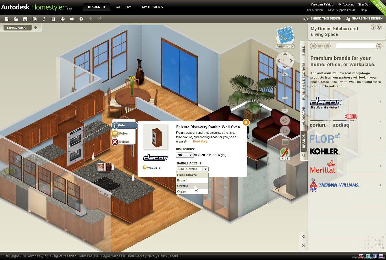 免費在線室內設計軟體 Autodesk Homestyler Home design software