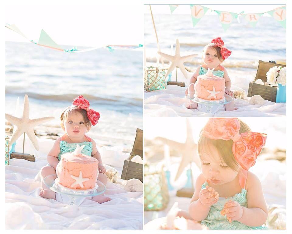 Cakesmash Mermaid With Images 1st Birthday Photoshoot First