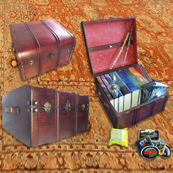 Wizards Book and DVD Trunk  all wood and brass  Harry
