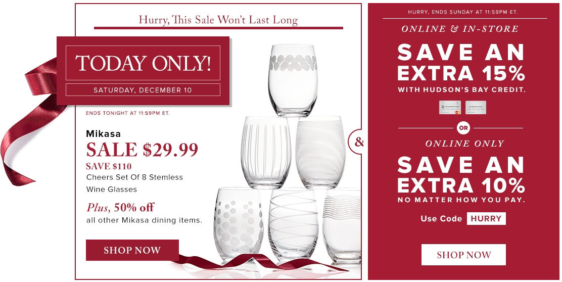 Hudsons Bay Canada Todays Deals Save 79 On Mikasa Cheers Set Of 8 Stemless Wine Glasses Today For 29 99 Http Www Lavahot Stemless Wine Glasses Mikasa