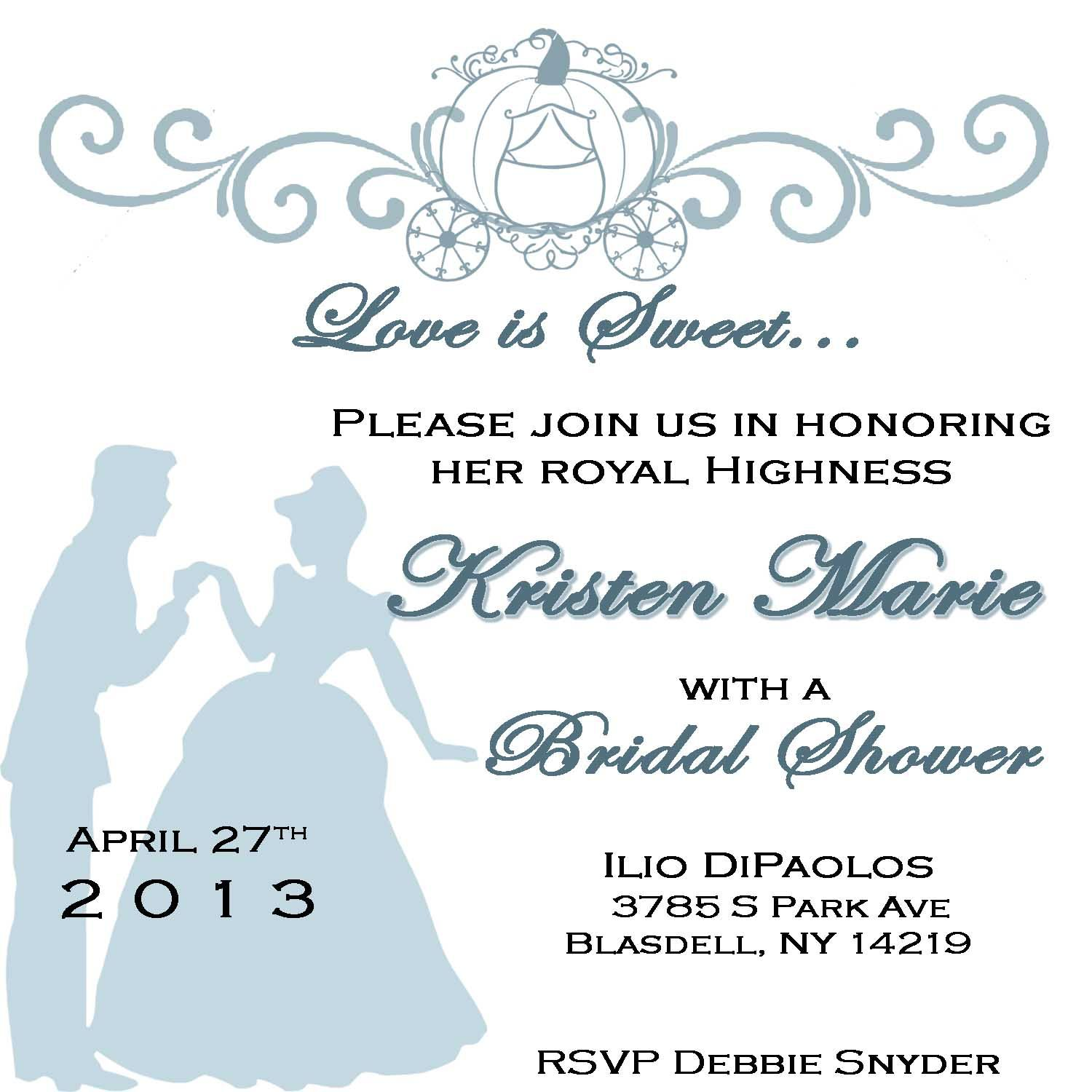 Cinderella Shower Invite Message Me For A Custom Your Bride