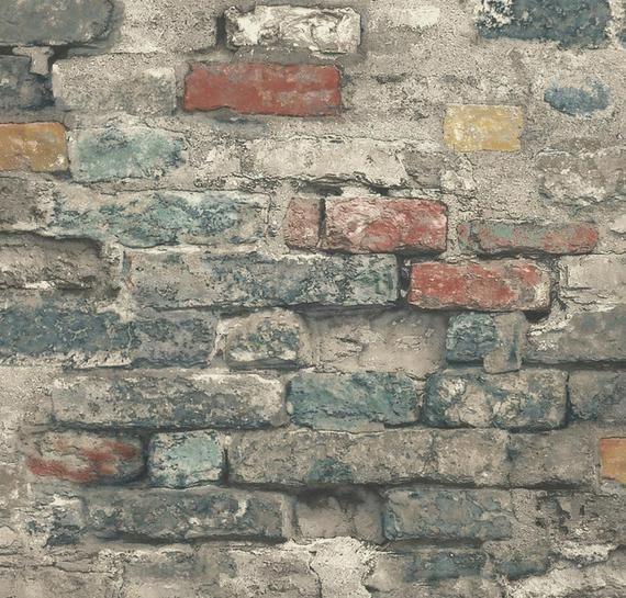 Old Repurposed Antique Brick Wallpaper Peel Stick Removable Etsy Peel And Stick Wallpaper Brick Wallpaper Faux Brick