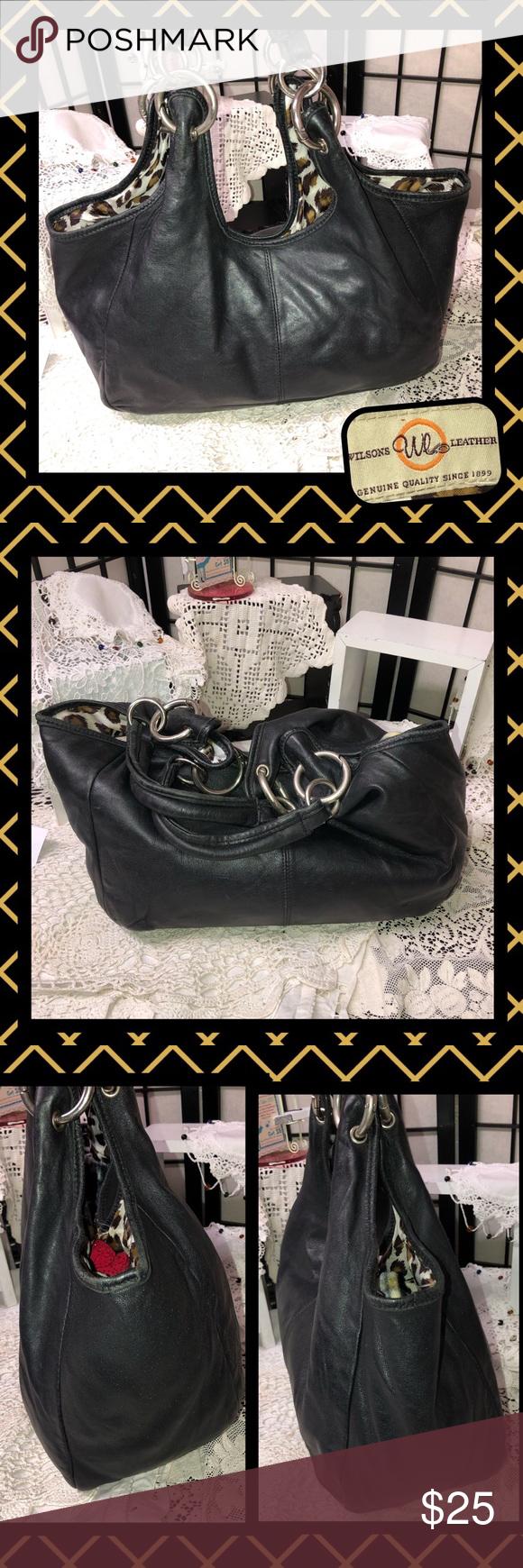 Wilsons Leather Silver Hardware Shoulder Bag USED