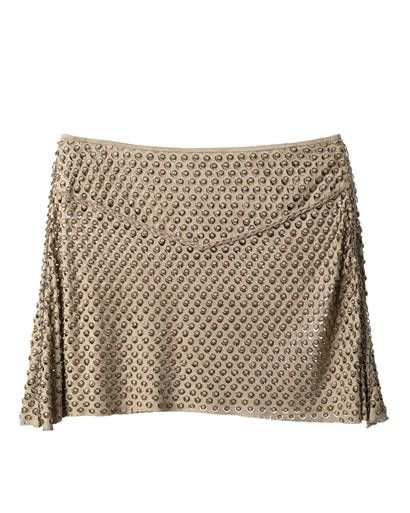 Suede skirt with silver eyelet detail, Roberto Cavalli, $4,550, at Roberto Cavalli Boutique nationwide