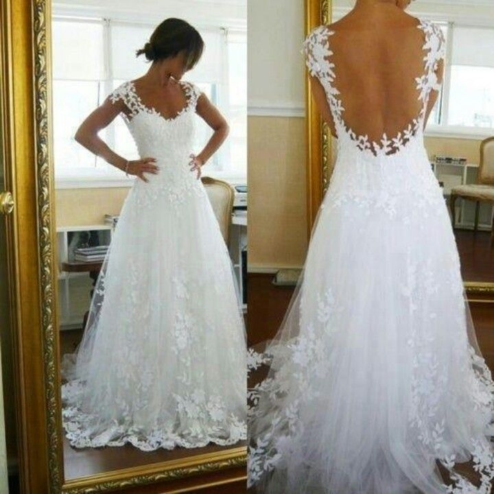 Pin By Laily Santa Cruz On Wedding Ivory Lace Wedding Dress Backless Wedding Wedding Dresses