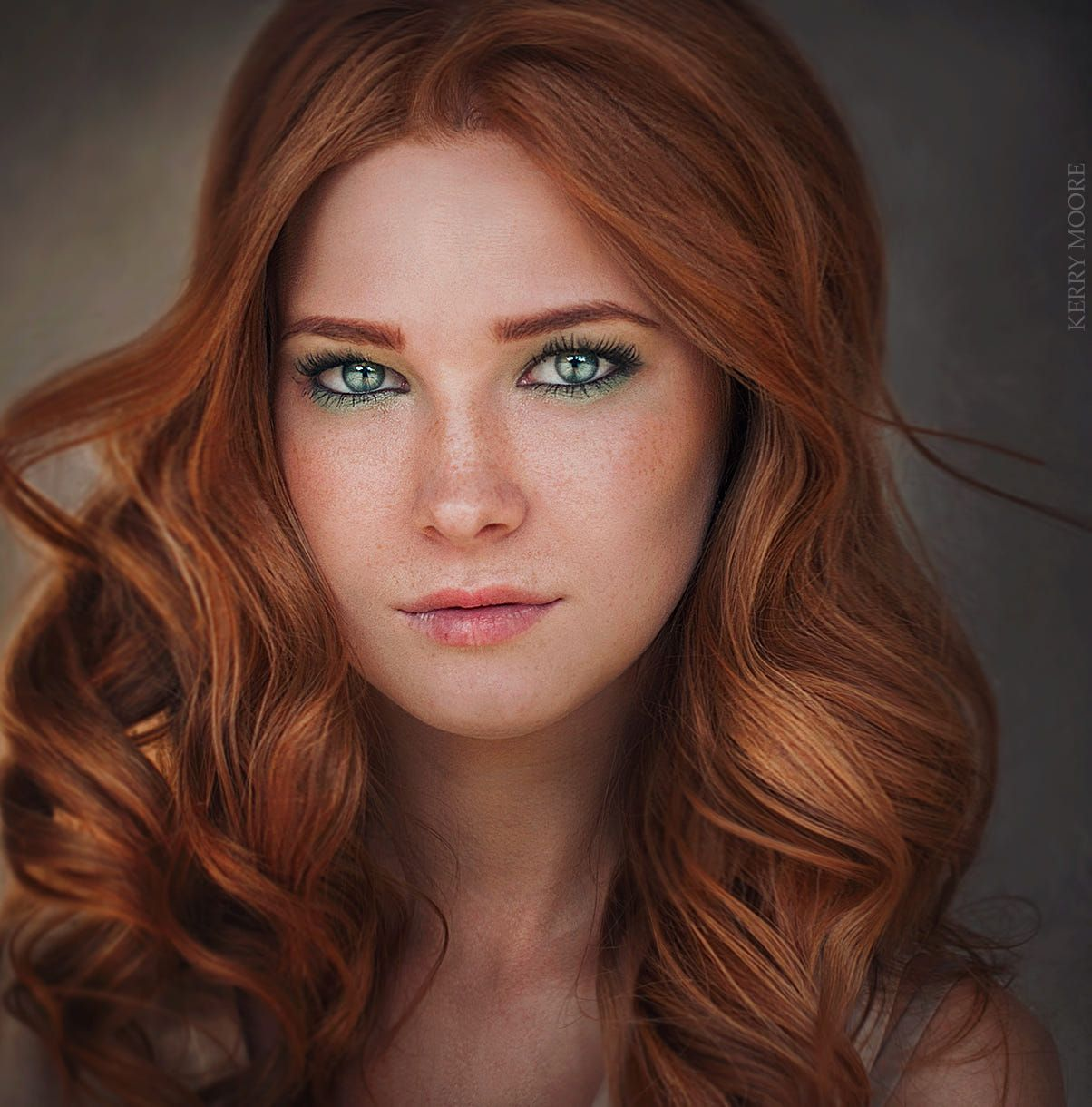 Elegant Young Red Haired Model With Freckles In Straw Hat