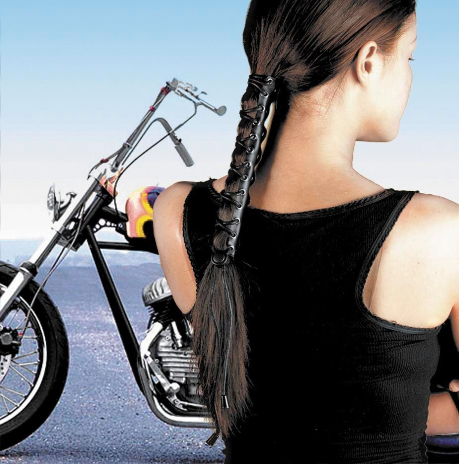 Womens Black Solid Leather Ponytail Wrap HairGlove Motorcycle Hair ...