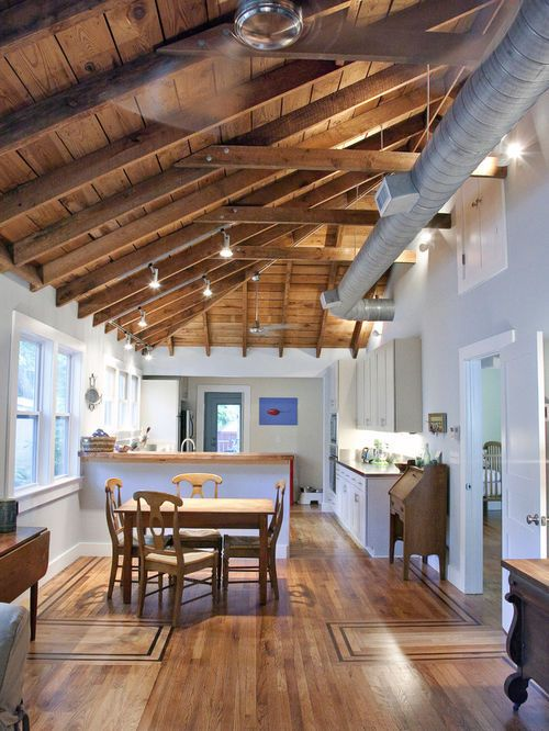 Removing Soffit For Ductwork In Vaulted Ceilings Google Search Cathedral Ceiling Living Room Vaulted Ceiling Living Room Kitchen Ceiling