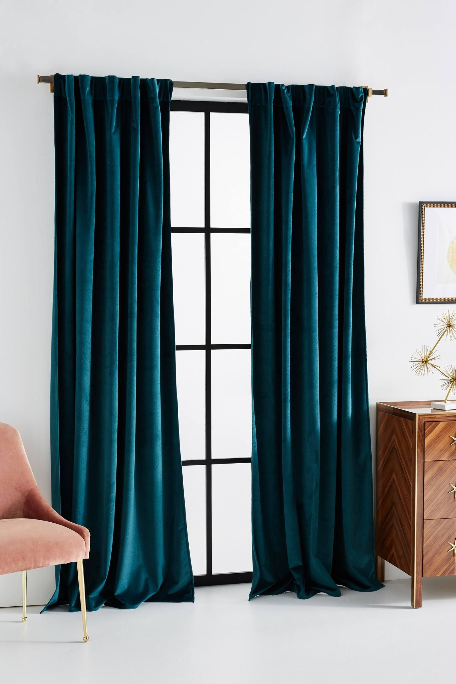 Velvet Louise Curtain by Anthropologie in Blue, Curtains