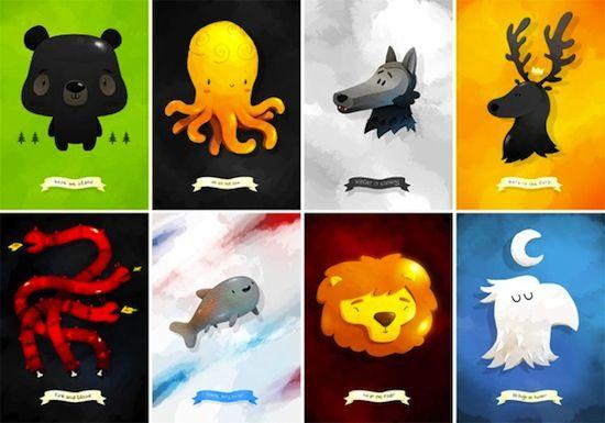 Cartoon Style Game of Thrones Sigils