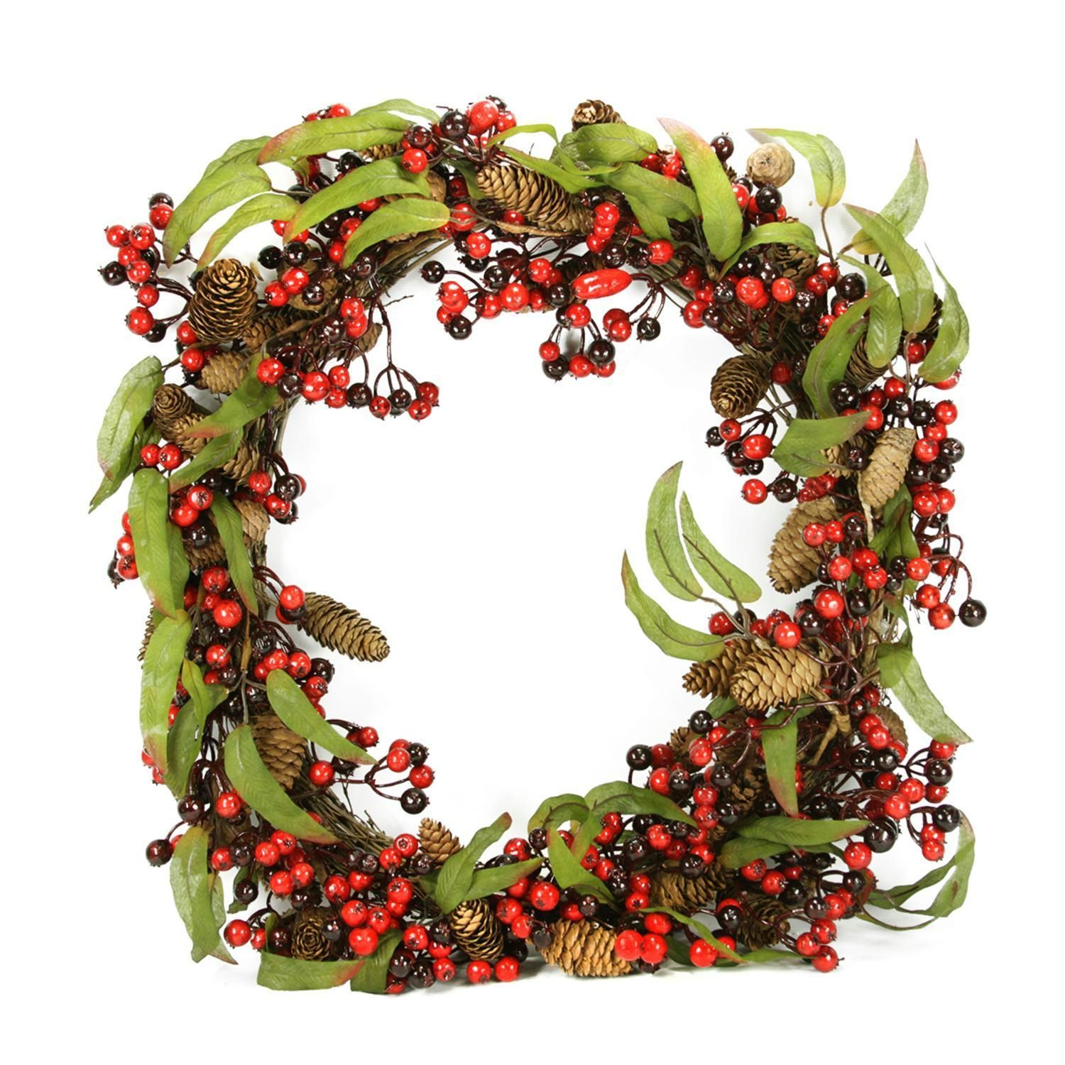 24 Red And Black Berry And Pine Cone Artificial Christmas