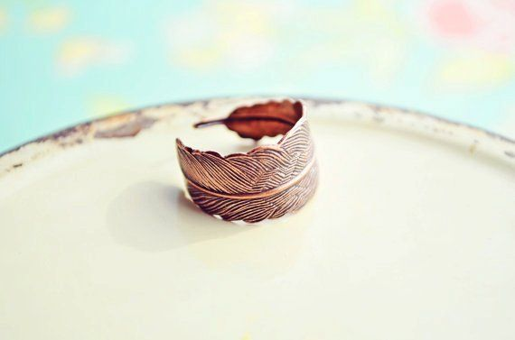 Copper Feather Ring - Copper Feather Jewelry, Bird Feather, Feather Ring, Bohemian - Flora and Fauna Collection