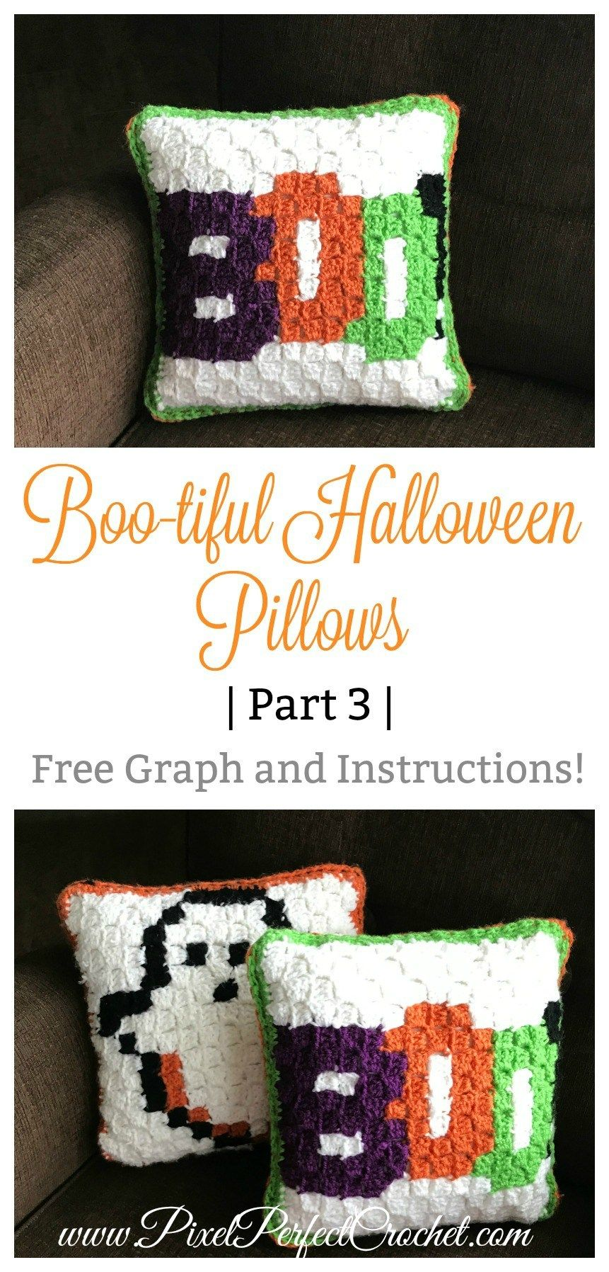 Boo-tiful Halloween Corner to Corner C2C Crochet Pillow with free ...