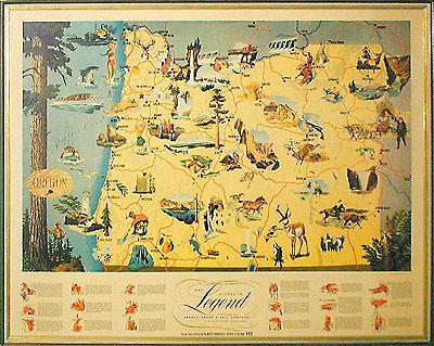 Vintage Oregon Map.Map Of Oregon Legend Pictorial Map 1950 Oregon Pinterest