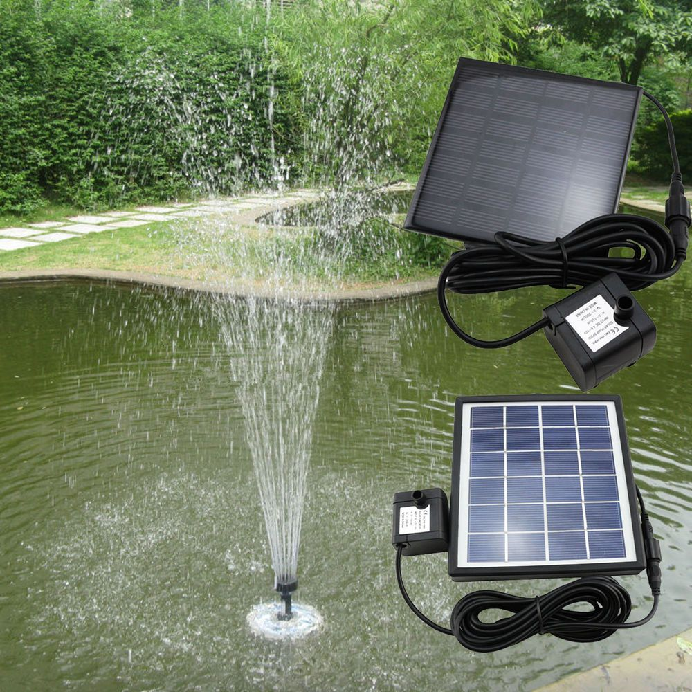 Solar Power Fountain Pool Water Pump Panel Garden Plants Watering Kit New Plumbing