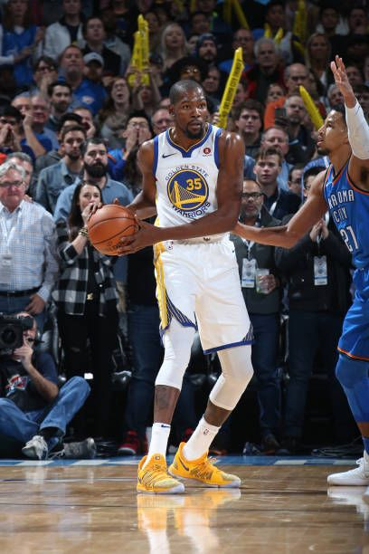 99c11f82e8ce Kevin Durant of the Golden State Warriors looks to pass against the Oklahoma  City Thunder on November 22 2017 at Chesapeake Energy Arena in Oklahoma.