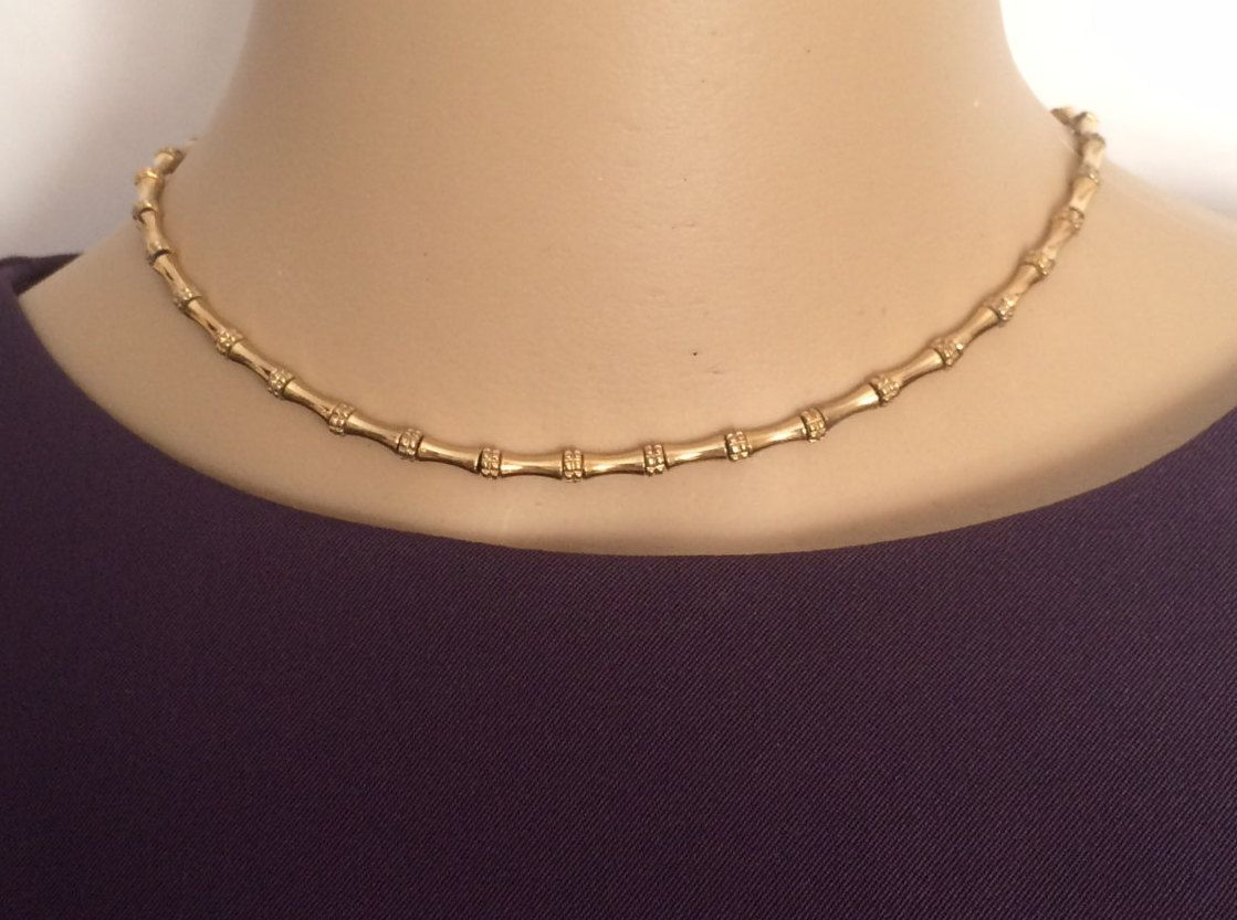 MONET Bamboo Link Choker Necklace Gold Tone Bamboo Chain Necklace