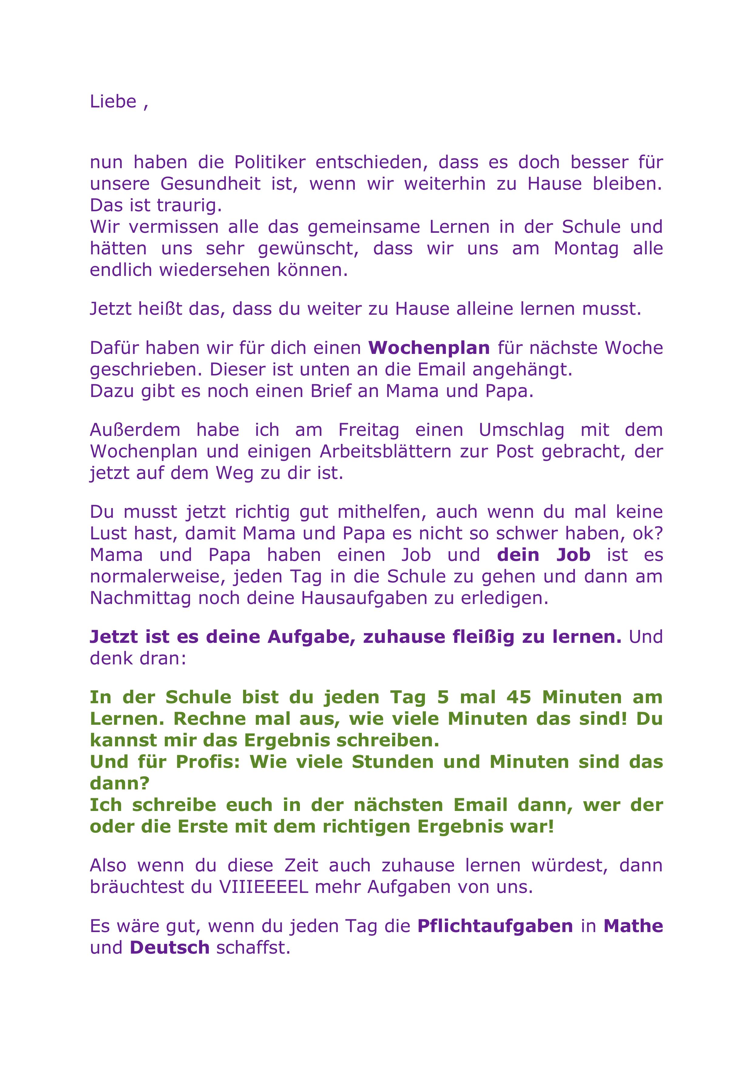 Brief Schuler Homeschooling Ab 20042020 Gs Edit Unterrichtsmaterial Im Fach Fachubergreifendes Lehrer Briefe Zeugnis Schreiben Zeugnis