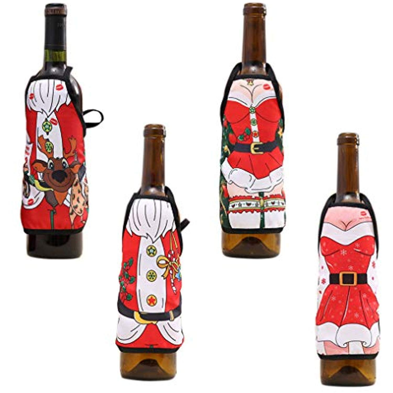 Handrong 4pcs Christmas Wine Bottle Bags Cover Holder Set Apron Shape Xmas Eve Dinner Tabl Christmas Wine Bottle Covers Christmas Wine Bottles Kid Party Favors