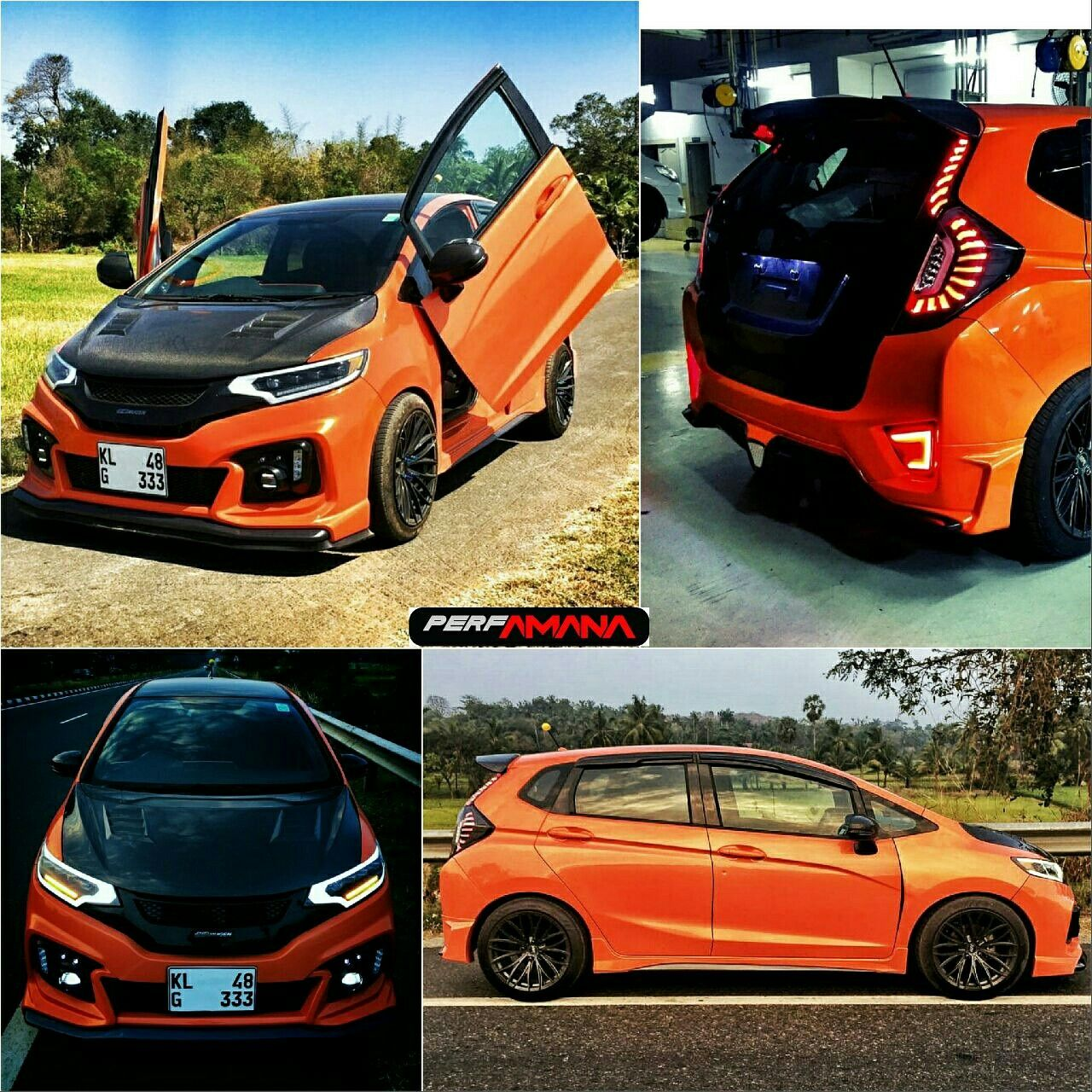 Honda Jazz Added 17 Wheels Body Kit Carbon Fiber Parts Head