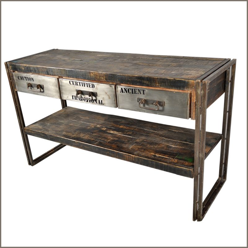 Industrial museum 3 drawer reclaimed wood iron hall for Wood and metal console table